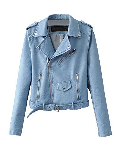 Chaquetas Para Mujer Otoño Invierno Blazers Chaqueta Con Cremallera Casual Cazadoras De Cortos De Cuero Pu Azul