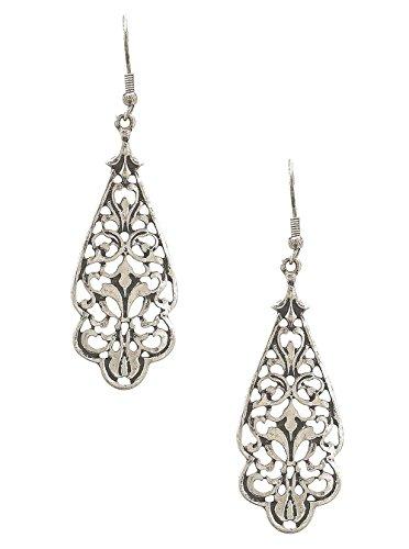 """Open Scroll Design Earrings - Lacy Nouveau Look Antiqued Silver-Tone Open Work Filigree Stylized Teardrop Dangle Earrings 2 5/8"""""""