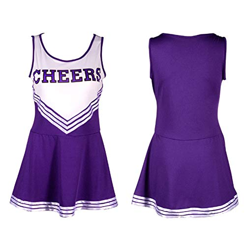 ZTie Women's School Girls Musical Party Halloween Cheerleader Costume Fancy Dress Uniform Outfit (M, Purple)