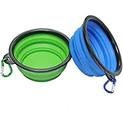 Pets Travel Bowl 2 Pieces Portable Foldable Collapsible Silicone Feeding Dishes for Dog Cat (Blue and Green)