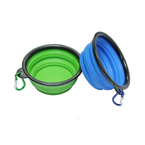 Pets Travel Bowl 2 Pieces Portable Foldable Collapsible Silicone Feeding Dishes for Dog Cat (Blue and - What The Have Is To Face Shape Best