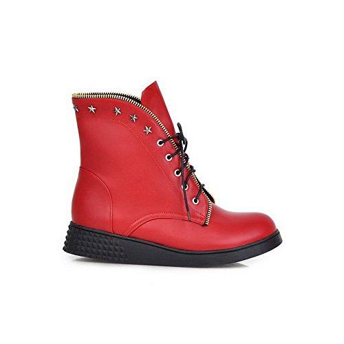 AllhqFashion Mujeres Puntera Redonda Caña Baja Mini Tacón Sólido Material Suave Botas Rojo