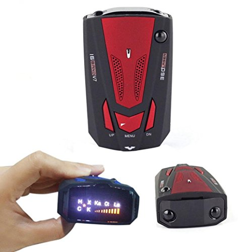 E-Bro 16 Band Radar Detector, Voice Alert and Car Speed Alarm System with 360 Degree Detection, City/Highway Mode Radar Detectors for Cars Red by E-Bro (Image #1)