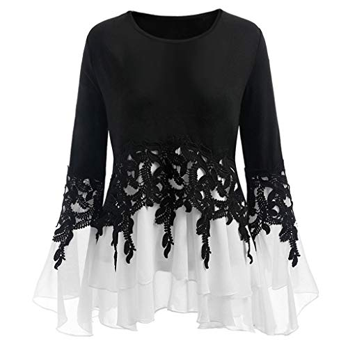 happyYE Woman Elegant Round Neck Blouse Sweatshirt, Ladies Blouse and Shirt Long Sleeve Casual Chiffon Lace Pullover Sweater t-Shirt Crop Tops