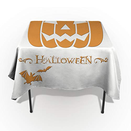 60 x 84 Inch Rectangle Tablecloth - Happy Halloween Funny Pumkin and Bat Rectangular Polyester Table Cloth Table Covers Linen Decor - Great for Kitchen Table, Parties, Holiday Dinner, Wedding & More ()
