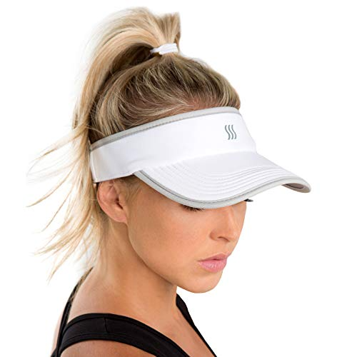 SAAKA Womens Super Absorbent Visor. Best for Tennis, Golf, Running & All Sports. (White)
