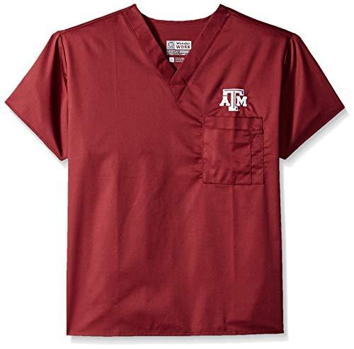 (WonderWink Unisex-Adult's Texas A&M University V-Neck Top, Maroon, LG)