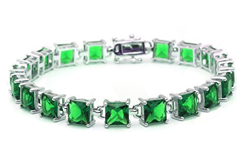 24CT Princess Cut Simulated Green Emerald .925 Sterling Silver Bracelet by Oxford Diamond Co