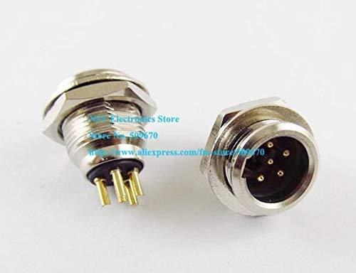 Gimax Mini XLR 5Pin Male Audio Microphone Chassis Mount TB5M Match TA5F Connector//3PCS