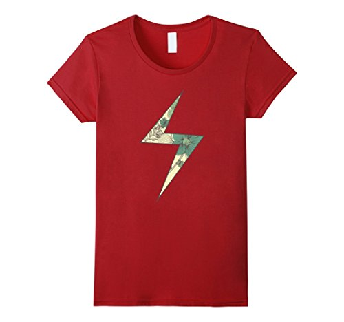 Womens Marvel Ms. Marvel Hawaiian Patterned Lighting Bolt T-Shirt Large Cranberry