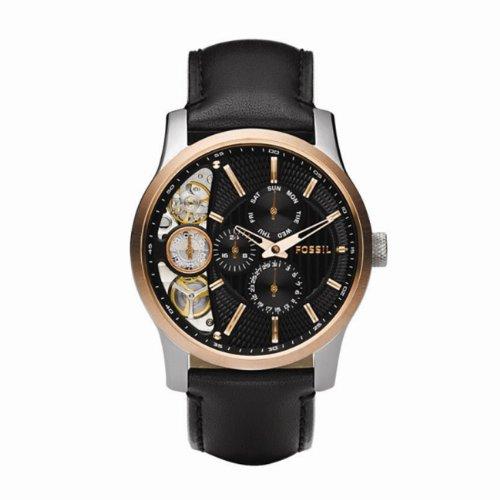 Fossil Twist ME1099 - Reloj analógico de cuarzo para hombre, correa de cuero color negro