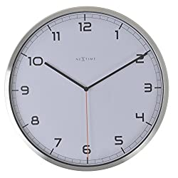 Unek Goods NeXtime Company Aluminum Wall Clock, White Face with Black Numbers, Battery Operated