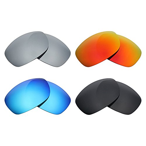 Mryok 4 Pair Polarized Replacement Lenses for Oakley Sideways Sunglass - Stealth Black/Fire Red/Ice Blue/Silver - Sunglasses Sideways
