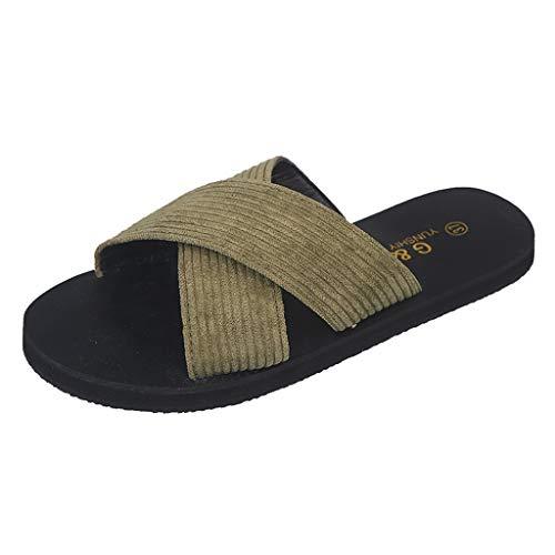 WEISUN Open Toe Sandals Women Summer Retro Rome Slipper Fashion Casual Home Slippers Beach Shoes Army Green
