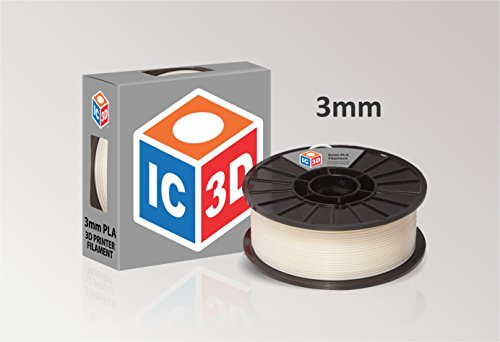IC3D Natural 3mm PLA 3D Printer Filament - 2lb Spool - Dimensional Accuracy +/- 0.05mm - Professional Grade 3D Printing Filament - MADE IN USA IC3D Printers Supplies
