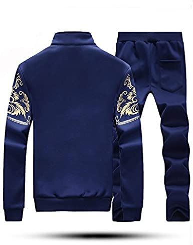 Silver/_river Uomo Casual Jogging Sportiva Felpa Cappotto Cappuccio e Pantaloni Manica Lunga Verticale Collo Zips 2 Pezzi Tute