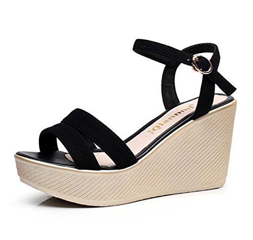 de Toe Cu 32 Cordones a con 43 Talla DANDANJIE Sandalias Black Casual Zapatos con de Para Negro Rosa Mujer Cuero Verano Peep de Rojo 6xw0qFn4