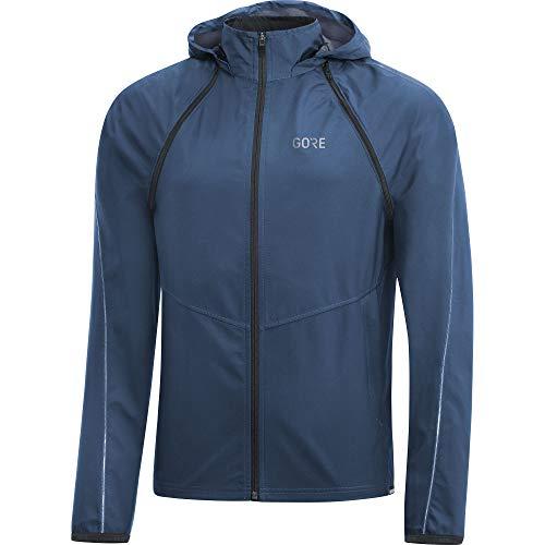(GORE WEAR R3 Men's Zip-Off Hooded Jacket Gore Windstopper, S, Dark Blue)