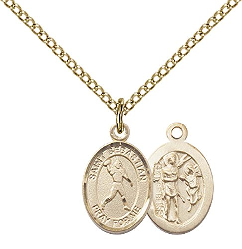 - F A Dumont 14kt Gold Filled St. Sebastian/Football Pendant with 18