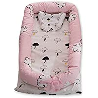 Ukeler Baby Bassinet for Bed - Cloud Printed Baby Lounger -100% Cotton Portable Crib for Bedroom/Travel - Breathable & Hypoallergenic Co-Sleeping Pink Baby Bed for Girls