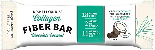 Keto Collagen Fiber Bar - High Fiber, Low Carbs - Dairy Free, Soy Free, Gluten Free, Non-GMO & No Added Sugar - Perfect Keto & Paleo Snack with Creamy Coconut Inside Dipped in Dark Chocolate (12 bars) by Dr. Kellyann (Image #2)