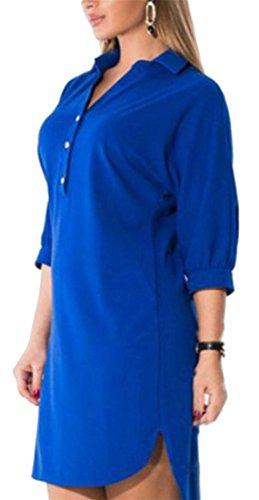 La Moitié Des Manches Élégante Des Femmes Cromoncent Grande Taille Bouton Revers Irrégulière T-shirt Bleu De Robe