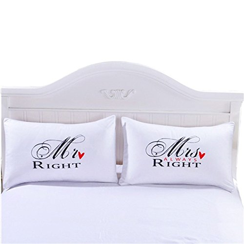 pillowcase set,Romantic Gift Idea for Couples Christmas, Valentines Day, Anniversary, Wedding, Engagement, for Him and Her in Love (M@Right, Queen) (Best Valentines Ideas For Her)