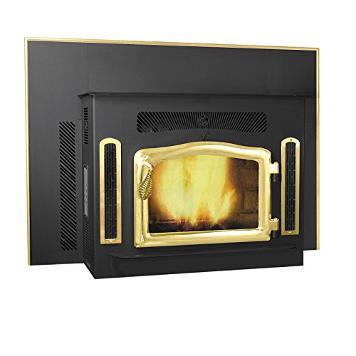Magnum Classic Black Country Flame Crossfire Wood Pellet Fireplace Insert 40,000 BTU Hand Built in USA (black and gold)