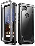 Google Pixel 3a XL Rugged Clear Case, Poetic Full-Body Hybrid Shockproof Bumper Cover, Built-in-Screen Protector, Guardian Series, Case for Google Pixel 3a XL (2019 Release), Black/Clear