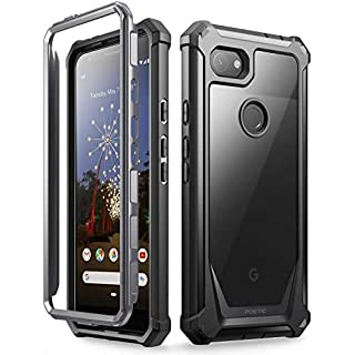 Poetic Google Pixel 3a Rugged Clear Case, Full-Body Hybrid Shockproof Bumper Cover, Built-in-Screen Protector, Guardian Series, Case for Google Pixel 3a (2019 Release), Black/Clear