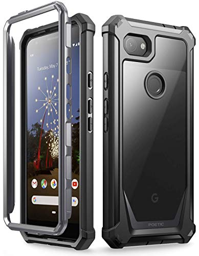 Clear Poly Case - Google Pixel 3a XL Rugged Clear Case, Poetic Full-Body Hybrid Shockproof Bumper Cover, Built-in-Screen Protector, Guardian Series, Case for Google Pixel 3a XL (2019 Release), Black/Clear