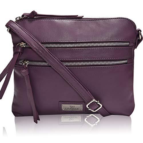 Genuine Leather Crossbody Handbag for Women - Shoulder bag for Womens Handmade by LEVOGUE (BERRY NAPPA)