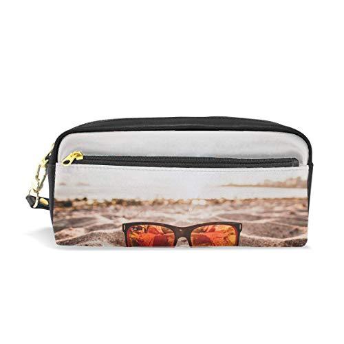 (Sunglasses Sand Reflection Print Pu Leather Pen Pencil Case Pouch Case Makeup Cosmetic Travel School Bag)