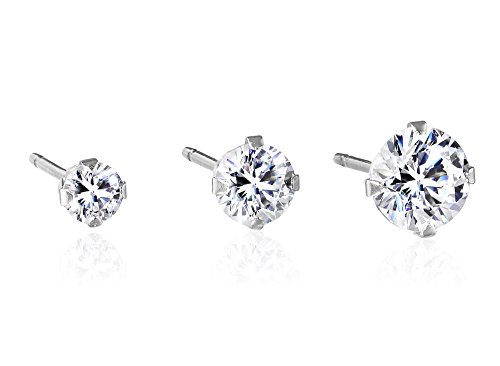 10K White Gold Round Swarovski Zirconia Set of 3 Single Stud Earrings (Size -3mm, 4mm and 5mm) (10k Set Gold)