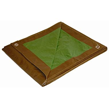 Dry Top 100570 Reversible Full Size 7 Mil Poly Tarp, 5' x 7', Brown/Green