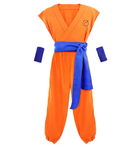 DAZCOS US Size Adult Yellow Son Goku Halloween Cosplay Costume (Men Large) -