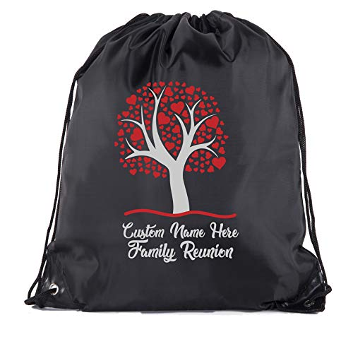 Family Tree with Hearts with Custom Name- Family Reunion Party Favor Bags - 10PK Black CE2500FAM -
