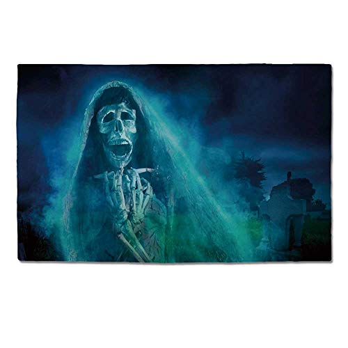 YOLIYANA Halloween Decorations Durable Door Mat,Gothic Dark Backdrop with a Dead Ghost Skull Mystical Haunted Horror Theme for Home Office,One -