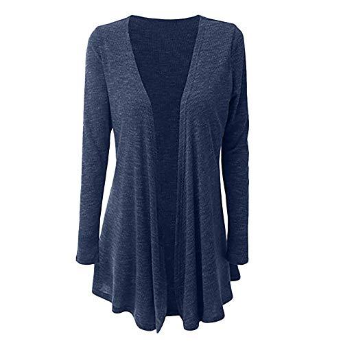 CUCUHAM Women Casual Plus Size Long Sleeve Pure Color Fit Open Front Coat Outwear(Dark Blue,US:18/CN:5XL) -