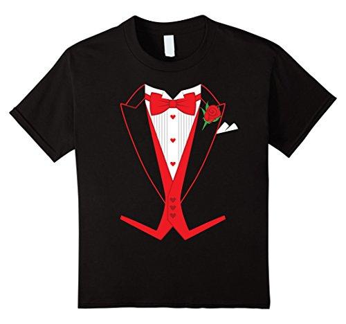 [Kids Valentine's Day Costume Red Bow Tie Tailcoat Tuxedo T-Shirt 6 Black] (Womens Tuxedo Costumes Tshirt)
