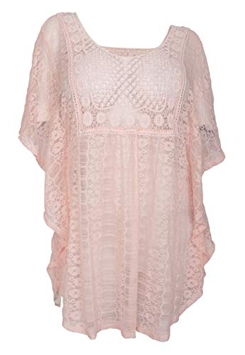 eVogues Plus Size Sheer Crochet Lace Poncho Top Baby Pink 19618-1X