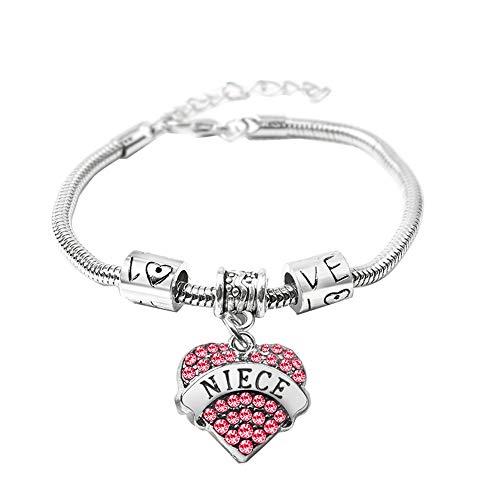 ba9219c31 Fusicase Cute New Shiny Crystal Charm Bling Diamond Silver Steel Hearts  Metal Family Member Bracelets Jewelry