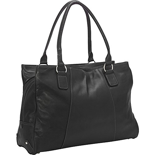 One Pocket Tote - Piel Leather Laptop Travel Tote, Black, One Size