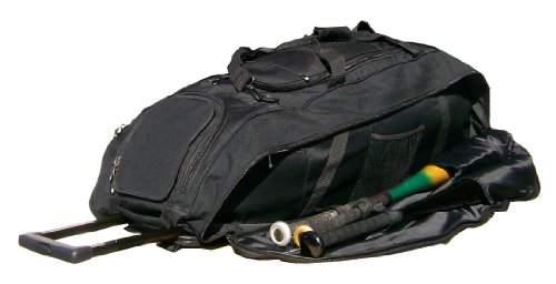 Catchers Bag In Solid Black Cobra Xl Iii Three Wheels Softball