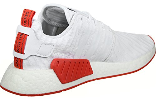 Adidas Schuhe NMD_R2 Primeknit Herren footwear white-footwear white-core red (BA7253), 36 2/3, weiss