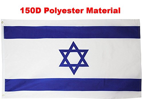 Israel Indoor Flag (G128 - Israel Flag 3x5 ft Printed Brass Grommets 150D Quality Polyester Flag Indoor/Outdoor - Much Thicker and More Durable than 100D and 75D Polyester)