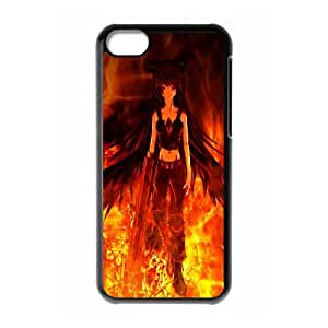 Touhou Flame Fire Girl Wings Weapon Gothic Utsuho Reiuji iPhone 5c Cell Phone Case Black 91INA91457738