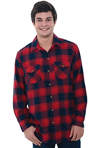 Del Rossa Mens Flannel Shirt, Long Sleeve Cotton Top, Large Red and Navy Plaid (A0704Q34LG) - Red Flannel Shirt For Men