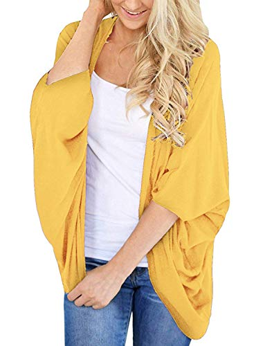 BB&KK Knit Cardigan Sweaters for Women Solid Colors Half Sleeve Open Front Cover Ups Yellow Large (Colour Shirt To Wear With Black Suit)