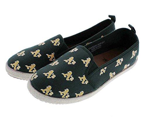 FOCO MLB Oakland Athletics Women's Espadrille Canvas Shoes, Medium, Team Color ()